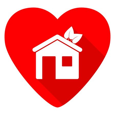 icon red: house red heart valentine flat icon Stock Photo