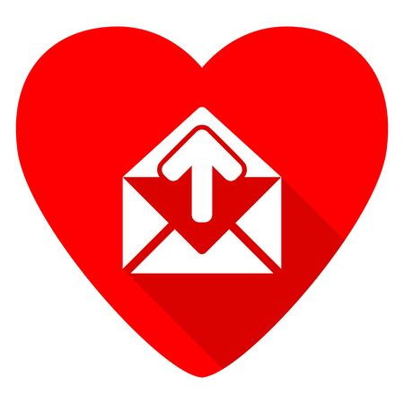 contacting: email red heart valentine flat icon Stock Photo