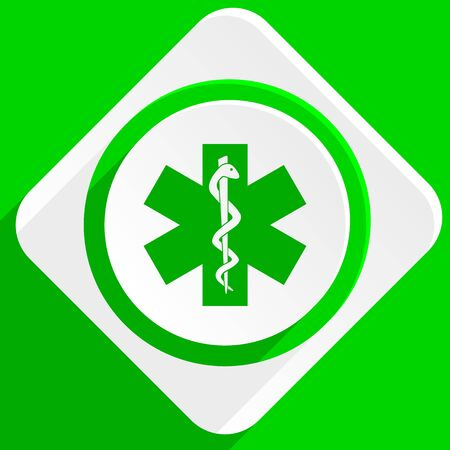 urgent care: emergency green flat icon