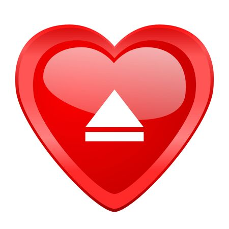 eject: eject red heart valentine glossy web icon