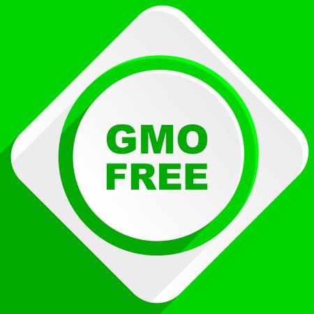 gmo: gmo free green flat icon Stock Photo