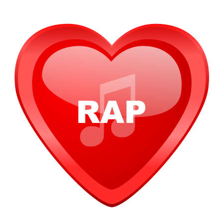 rap music: rap music red heart valentine glossy web icon