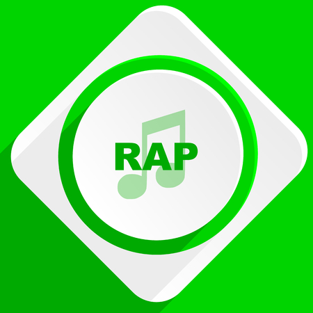 rap music: rap music green flat icon