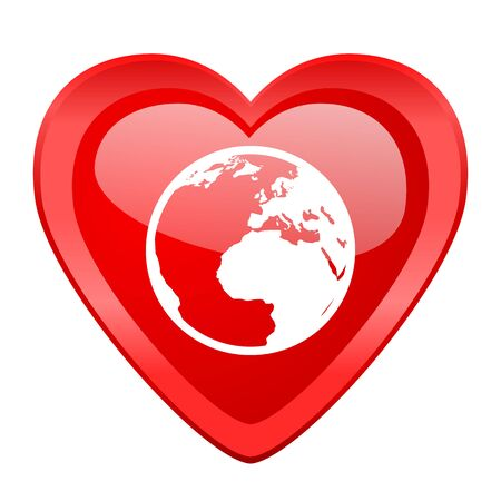 red earth: earth red heart valentine glossy web icon