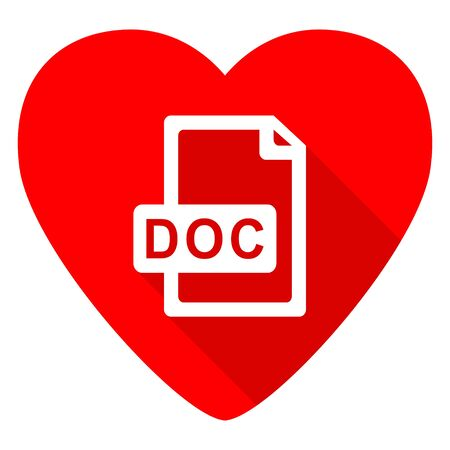 doc: doc file red heart valentine flat icon Stock Photo