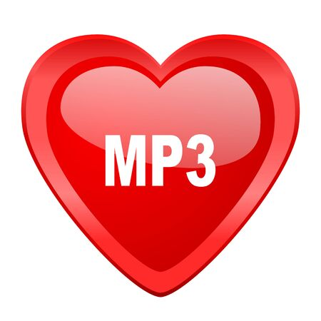 design media love: mp3 red heart valentine glossy web icon Stock Photo