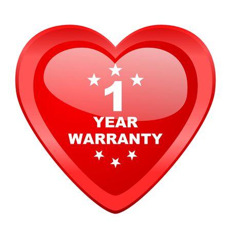 1 year: warranty guarantee 1 year red heart valentine glossy web icon