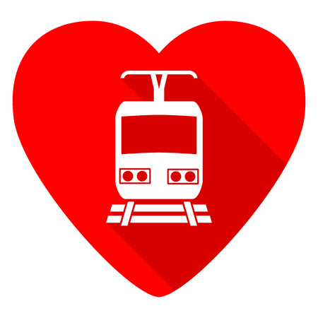 train red heart valentine flat icon