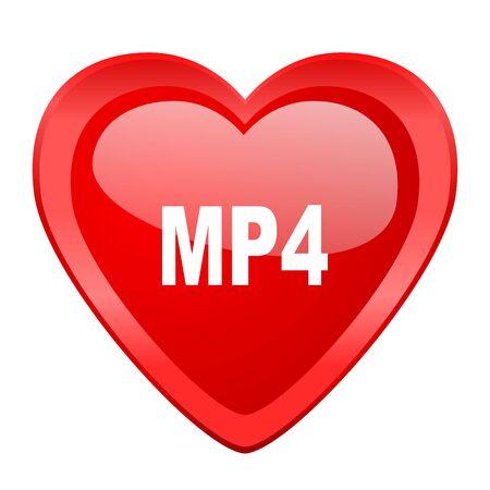 mp4: mp4 red heart valentine glossy web icon Stock Photo