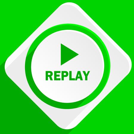 proceed: replay green flat icon