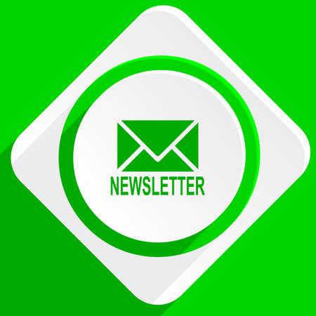 newsprint: newsletter green flat icon Stock Photo