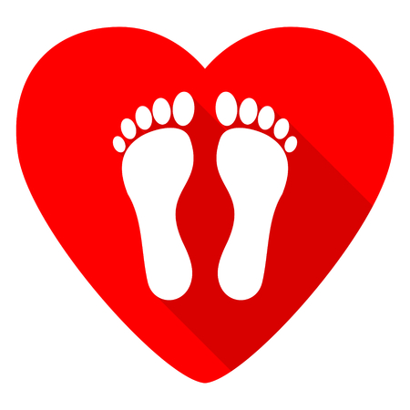 barefoot walking: foot red heart valentine flat icon