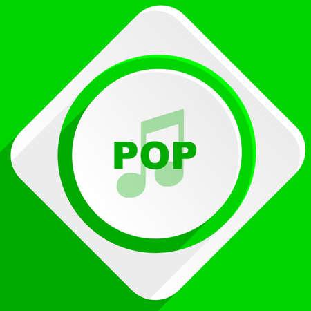 pop music: pop music green flat icon