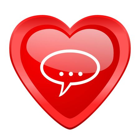 contacting: forum red heart valentine glossy web icon Stock Photo