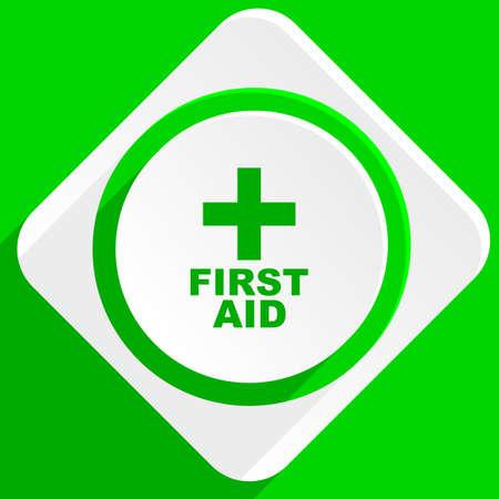 medics: first aid green flat icon