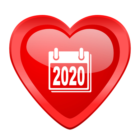 agenda year planner: new year 2020 red heart valentine glossy web icon
