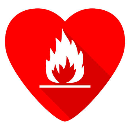heart burn: flame red heart valentine flat icon Stock Photo