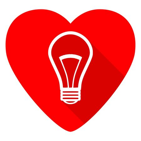 lighting button: bulb red heart valentine flat icon Stock Photo