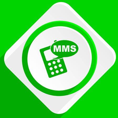 mms: mms green flat icon