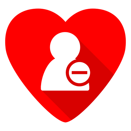 contacting: remove contact red heart valentine flat icon