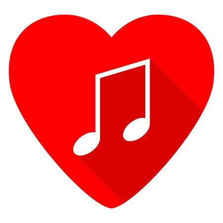 valentine musical note: music red heart valentine flat icon