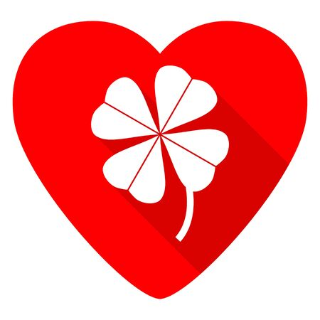 red clover: four-leaf clover red heart valentine flat icon Stock Photo