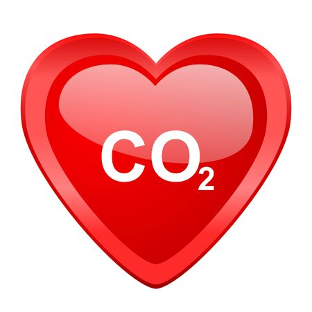 carbon emission: carbon dioxide red heart valentine glossy web icon