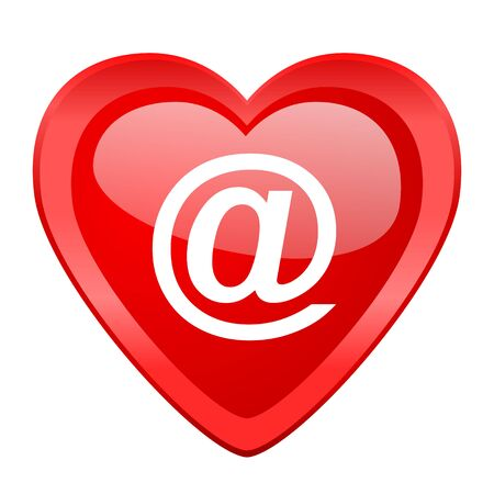contacting: email red heart valentine glossy web icon