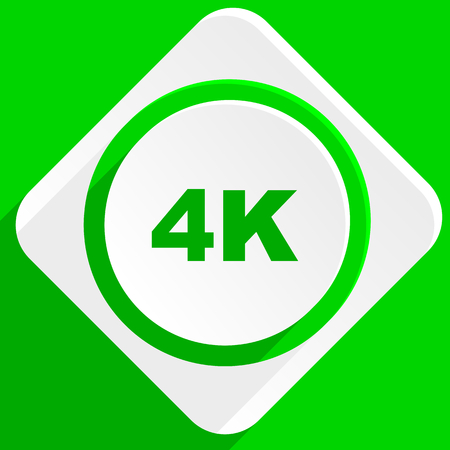 hdtv: 4k green flat icon Stock Photo