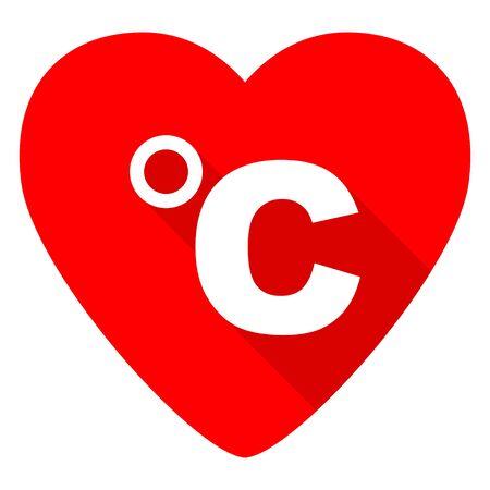 celsius: celsius red heart valentine flat icon