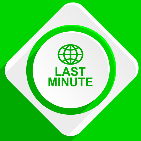 reservation: last minute green flat icon