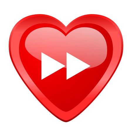 rewind: rewind red heart valentine glossy web icon