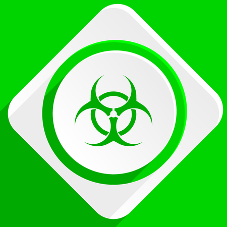 bacterioa: biohazard green flat icon Stock Photo