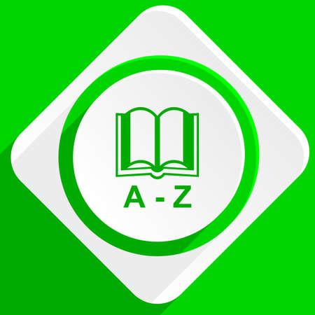translator: dictionary green flat icon Stock Photo