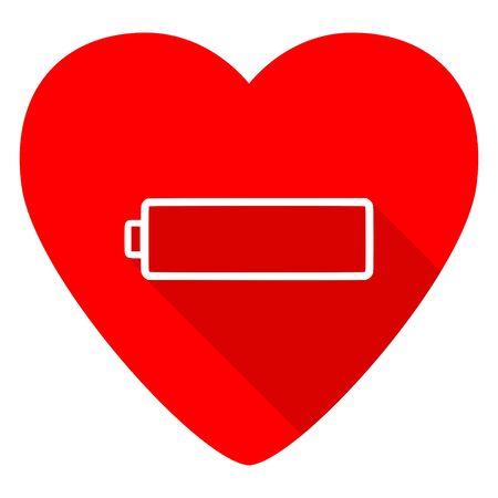 alkaline: battery red heart valentine flat icon