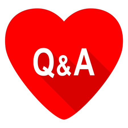 question and answer: question answer red heart valentine flat icon Stock Photo