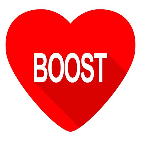 boost: boost red heart valentine flat icon Stock Photo