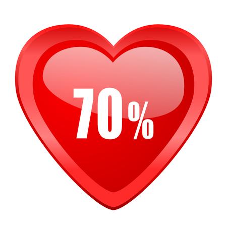 70: 70 percent red heart valentine glossy web icon