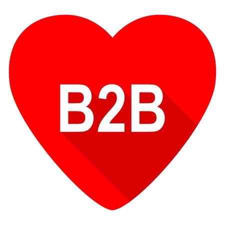 b2b: b2b valentín corazón rojo icono plana Foto de archivo
