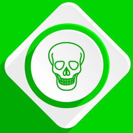 pirating: skull green flat icon