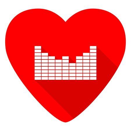 red sound: sound red heart valentine flat icon