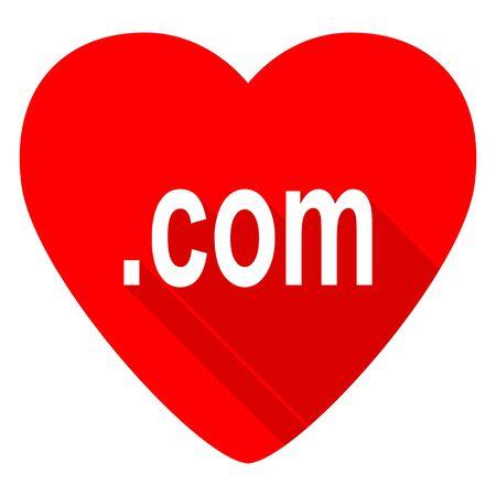 com: com red heart valentine flat icon