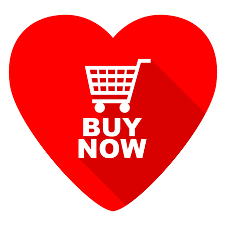 buy button: buy now red heart valentine flat icon Stock Photo