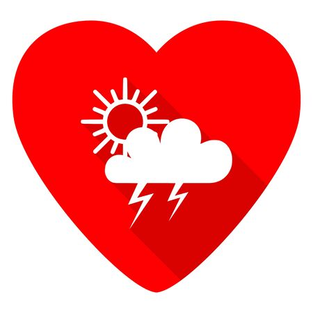 day forecast: storm red heart valentine flat icon
