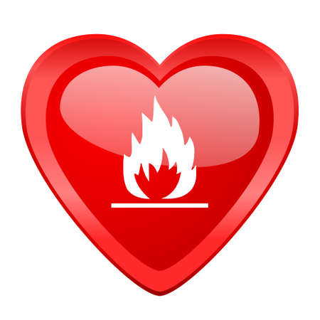 red love heart with flames: flame red heart valentine glossy web icon