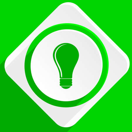 lighting button: bulb green flat icon