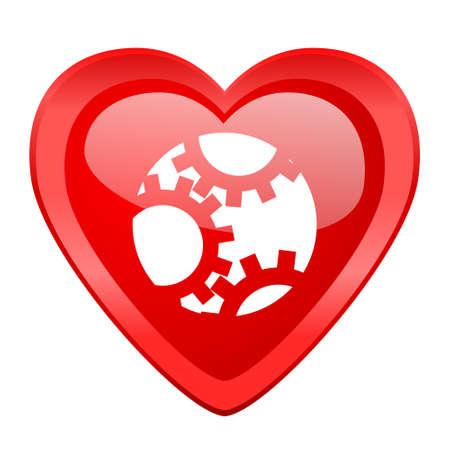 heart gear: gear red heart valentine glossy web icon Stock Photo