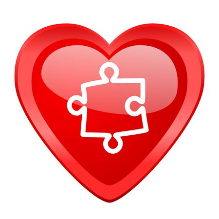 heart puzzle: puzzle red heart valentine glossy web icon Stock Photo