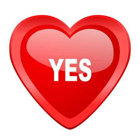 proceed: yes red heart valentine glossy web icon