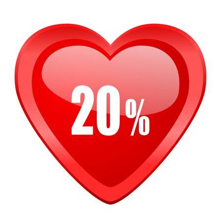 20: 20 percent red heart valentine glossy web icon
